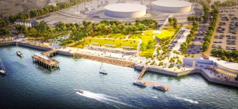 An aerial rendering of the proposed Wilmington waterfront complex. Courtesy of the Port of Los Angeles.