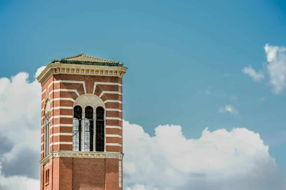 The bell tower of First Congregational Church in Downtown Long Beach. Photo by Brian Addison.