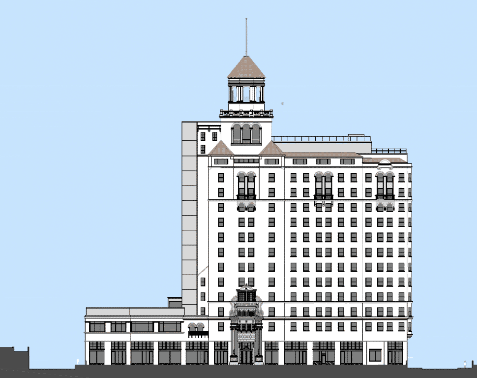 A rendering of the the Breakers building as it will look upon completion. Courtesy of Arco Construction.