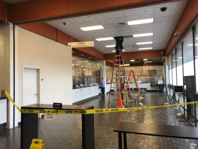 Portions of the lobby at City Hall were closed because of a leak Thursday. Photo by Jason Ruiz.