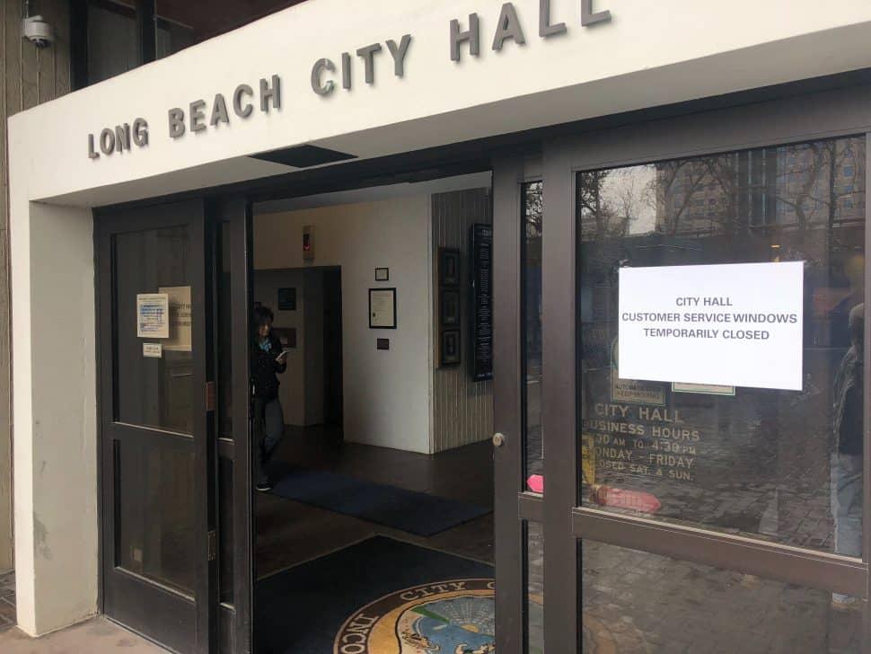 Rain shut down part of City Hall Thursday morning. Photo by Jason Ruiz.