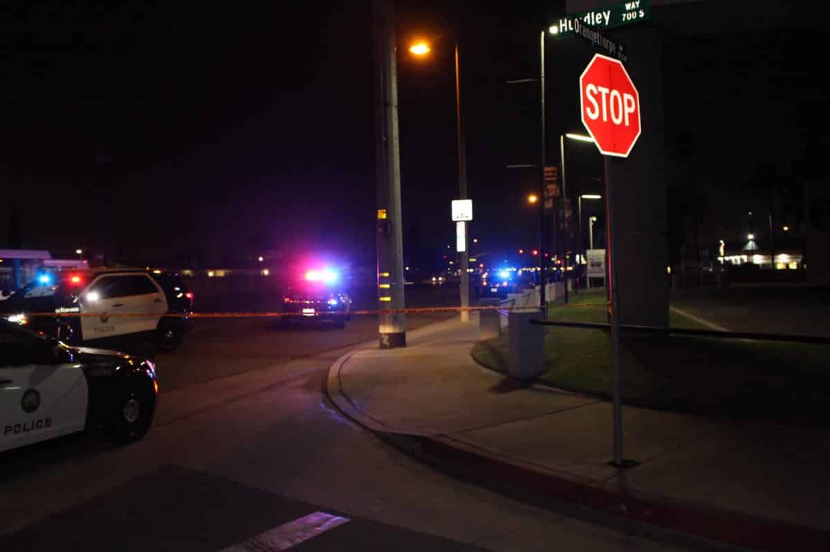 The intersection where a Long Beach man allegedly intentionally hit a motorcyclist in Placentia, leaving two people hurt, according to police. Courtesy Placentia police.