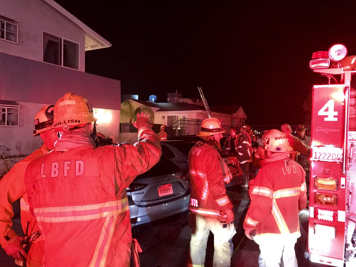 Crews doused the fire late Monday night. Photo courtesy the Long Beach Fire Department.