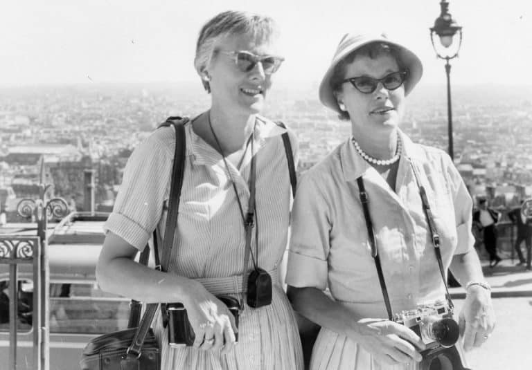 "Portrait of Beverly Hickok (L) and Cece Davis (R), c. 1940-1950 from the collection of Beverly Hickok (1919 - 2014). Beverly Hickok was a librarian and author who came out as a lesbian in the 1940s. She was partners for 41 years with Cecil ""Cece"" Harris, with whom she bought a house and lived in Berkeley, where she was the director of a major research library at the university. An avid traveller, her collection includes documentation of her adventures around the world with her partners, include almost 20 years of Olivia Cruises, the only lesbian-only cruise line in the world, one of which is pictured here. Courtesy of June Mazer Lesbian Archives."