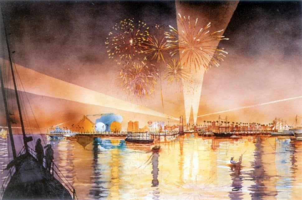 A rendering of the festivities and views inside the proposed Port Disney complex. Rendering courtesy of the Walt Disney Company.