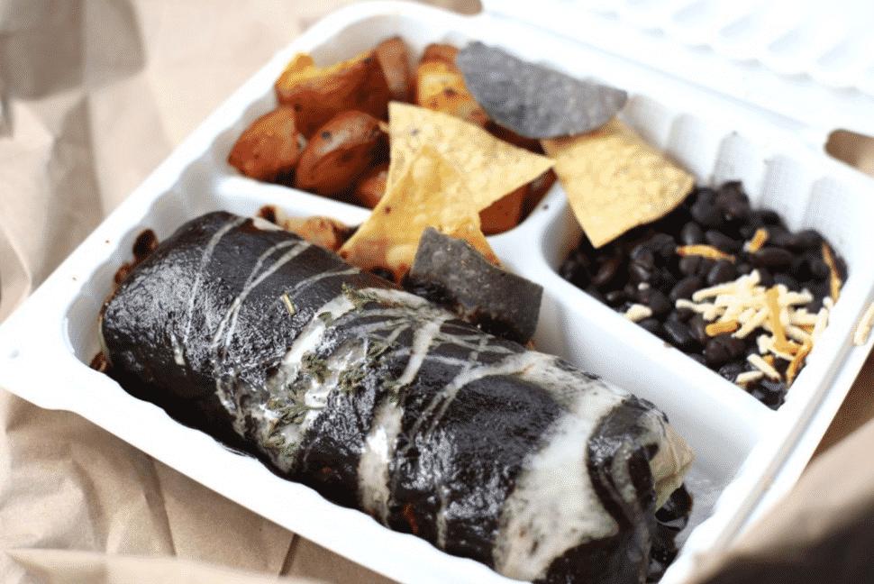 The Grain Cafe's mole burrito. Courtesy of Yelp!/Jay K.