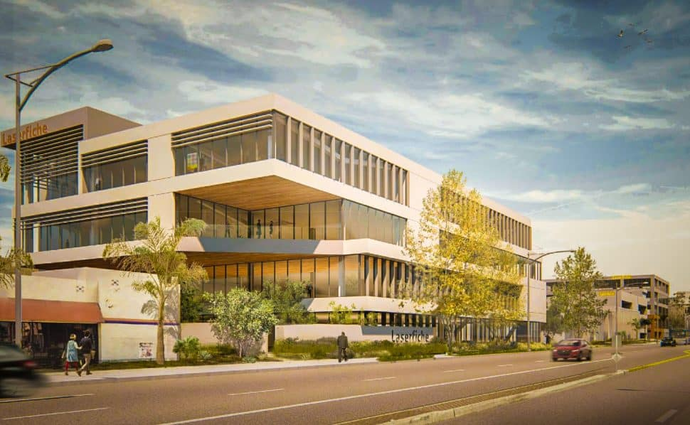 A rendering of the new Laserfiche development as seen from Long Beach Blvd. facing north. Courtesy of Studio One Eleven.