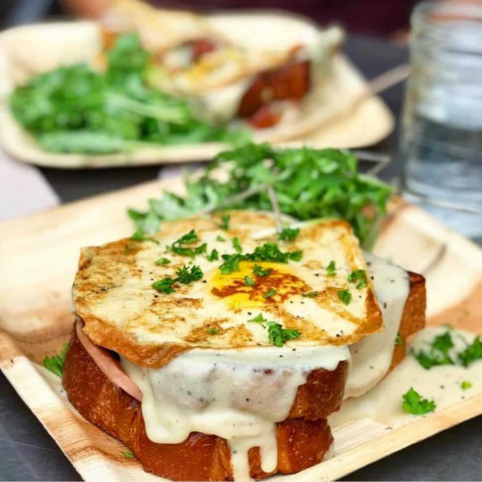 The Wild Chive's Croque Madame sandwich served at brunch. Photo: @kikibeeee