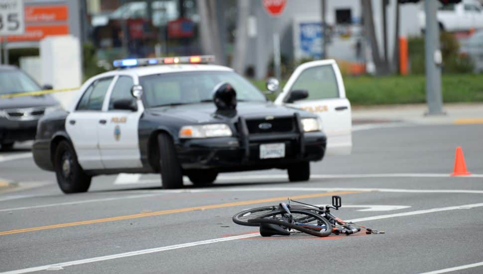 Long Beach Police at the scene of a fatal accident, involving a bicyclist and a car, at the corner of Los Coyotes Diagonal and Palos Verdes Avenue, Wednesday January 30th, 2019. Photo by Stephen Carr / For the Long Beach Post