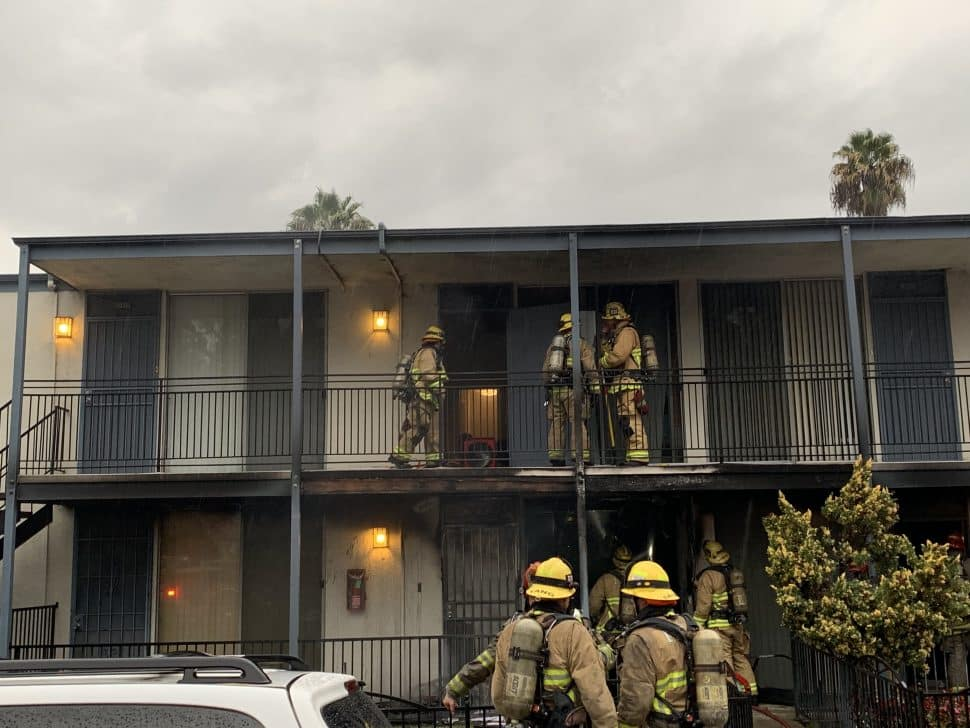 The fire was burning in a first-floor unit. Photo courtesy Long Beach Fire Department.