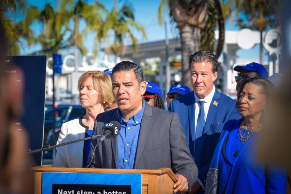 Long Beach Mayor Robert Garcia [front center] is joined by Supervisor Janice Hahn [left], Metro Executive Officer for Capital Projects Tim Lindholm [back center], and Metro Board Director Jacquelyn Dupont-Walker at a press conference near the Blue Line's Willow station on Jan. 22, 2019. Photo by Brian Addison.