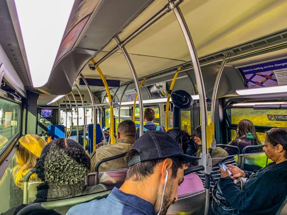Metro's 860 express line is filled to capacity as it trekked along the 405 before hitting the 110 FastTrak to Downtown Los Angeles. Photo by Brian Addison.
