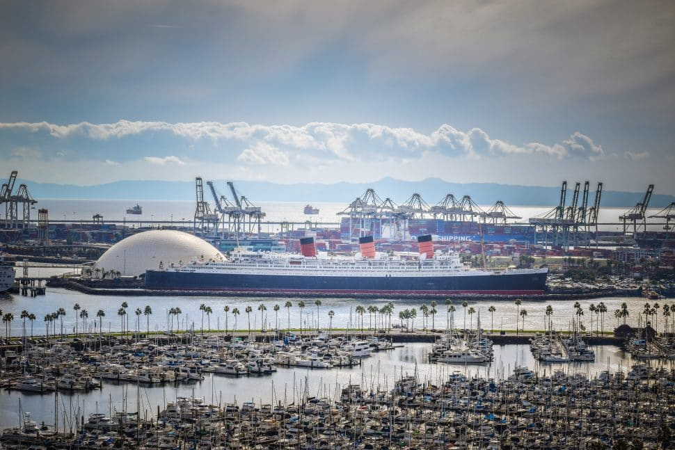 The Queen Mary as seen from atop the Villa Riviera in Downtown Long Beach. Photo by Brian Addison.