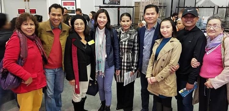 Delegate-elect Vanndearlyn Vong (fourth from left) poses with supporters on Saturday, Jan. 12. Vong won a Democratic delegate seat for the 70th Assembly District. Photo courtesy of Vong.