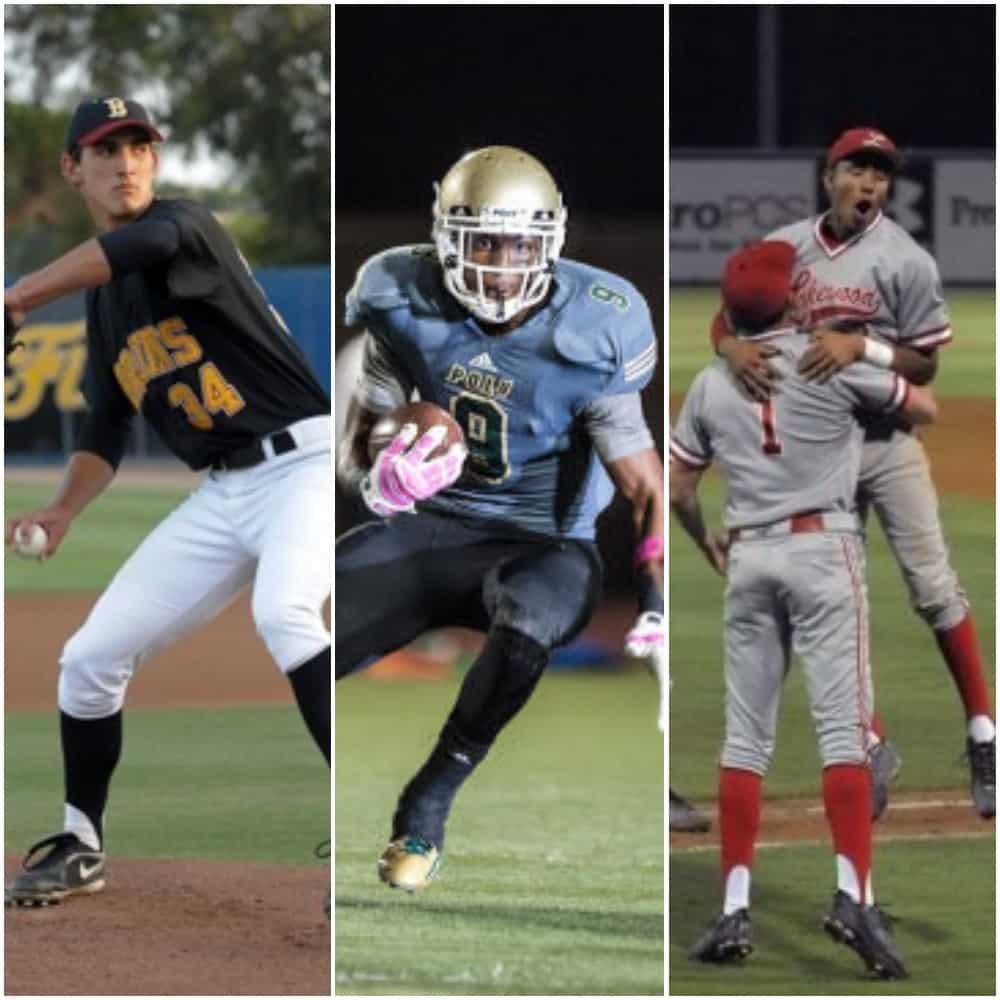 From left, Wilson High alum Chase De Jong, Long Beach Poly alum JuJu Smith-Schuster, Lakewood High alum J.P. Crawford.