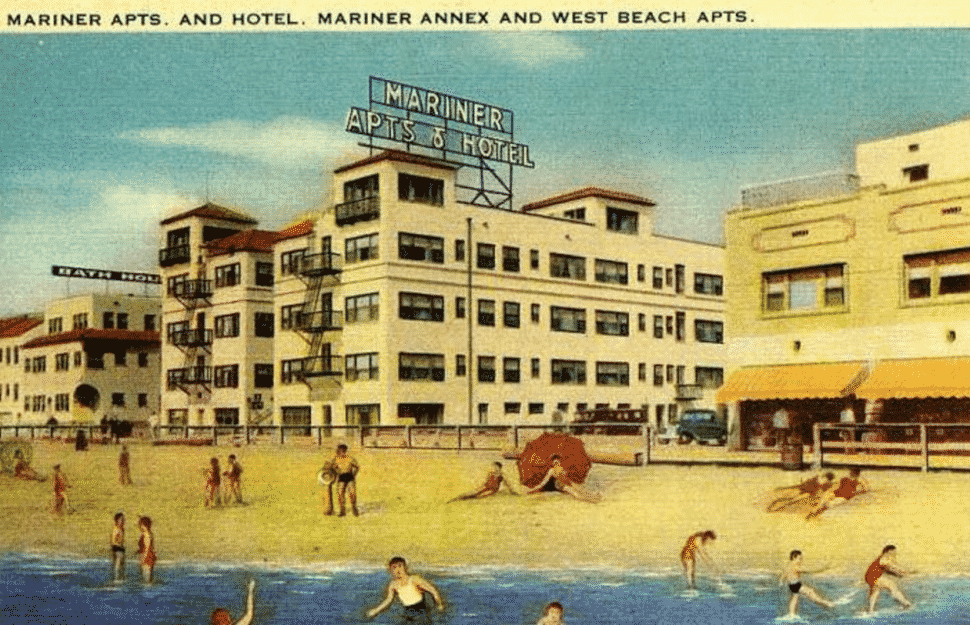 A postcard depicts what The Jungle was like before it became The Jungle: A beach resort. Courtesy of the USC Archives.