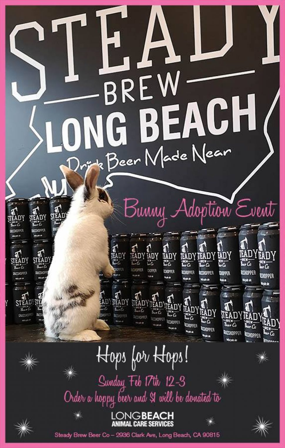Ad for an event with a white rabbit with black ears and one black spot staring at a row of cans.