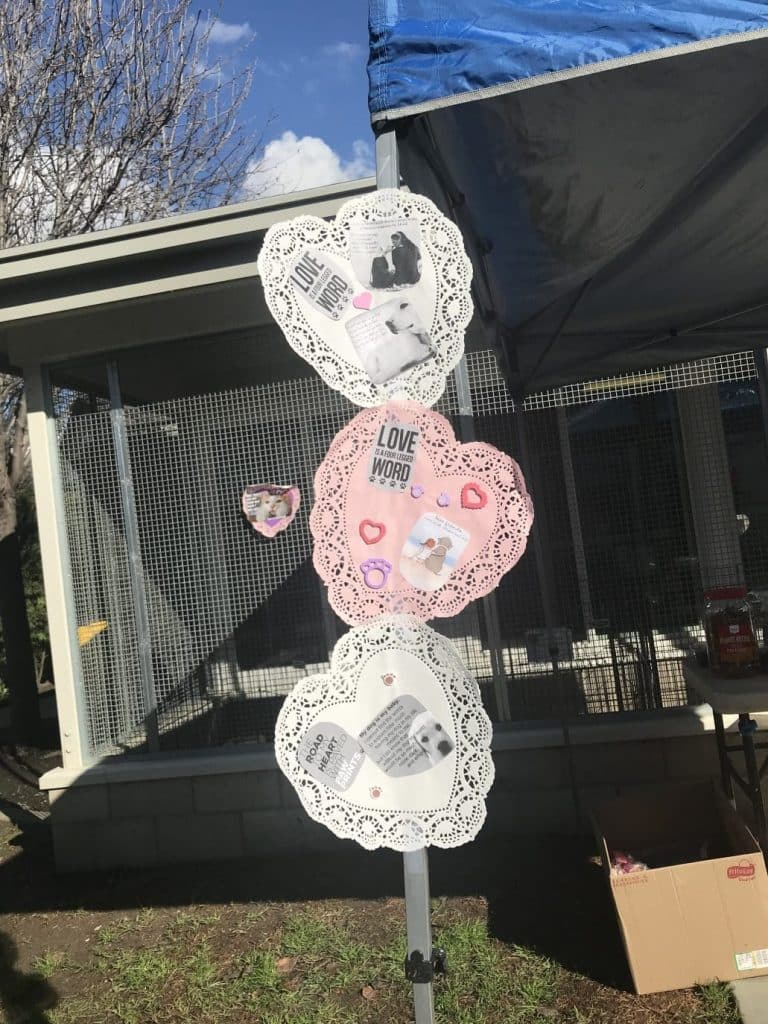 Three hearts on a pole. They're made from doilies. Top is white, second is pink, third is white. Dog kennels on either side.