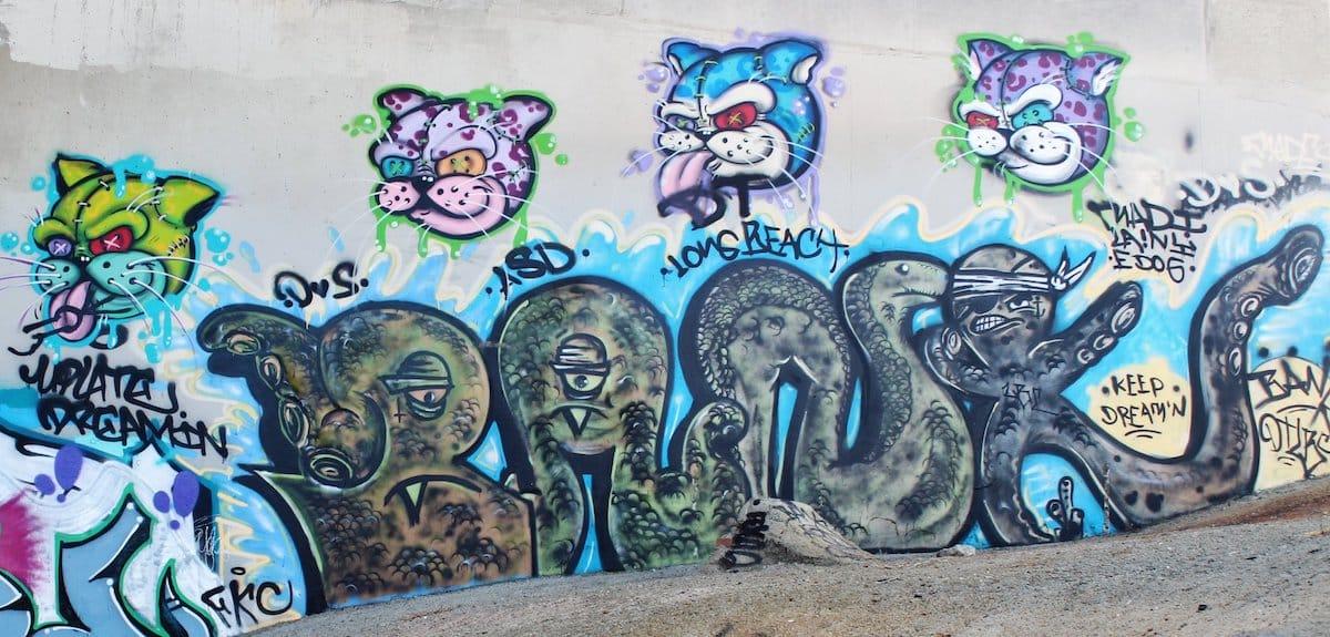 Art under the 6th Street bridge in Long Beach. Sep. 9, 2018. Photo by Matt Cohn.