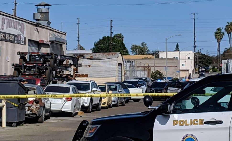 Two bodies were found in an industrial area of Long Beach Sunday afternoon. Photo by Valerie Osier.