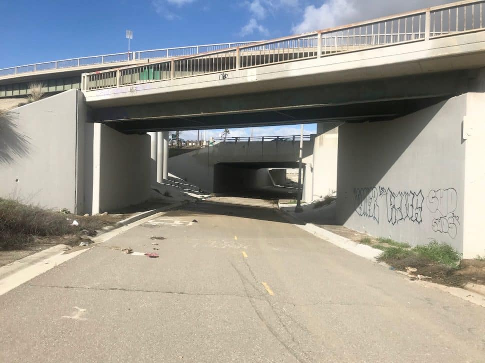 The tunnel under the 6th Street 710 offramp in Long Beach on Thursday, March 7. Photo by Asia Morris.