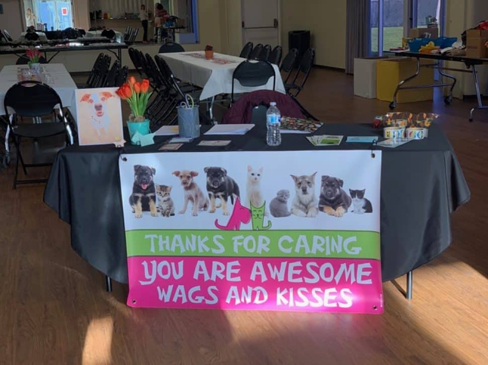 "Banner with the words ""THANKS FOR CARING. YOU ARE AWESOME. WAGS AND KISSES."